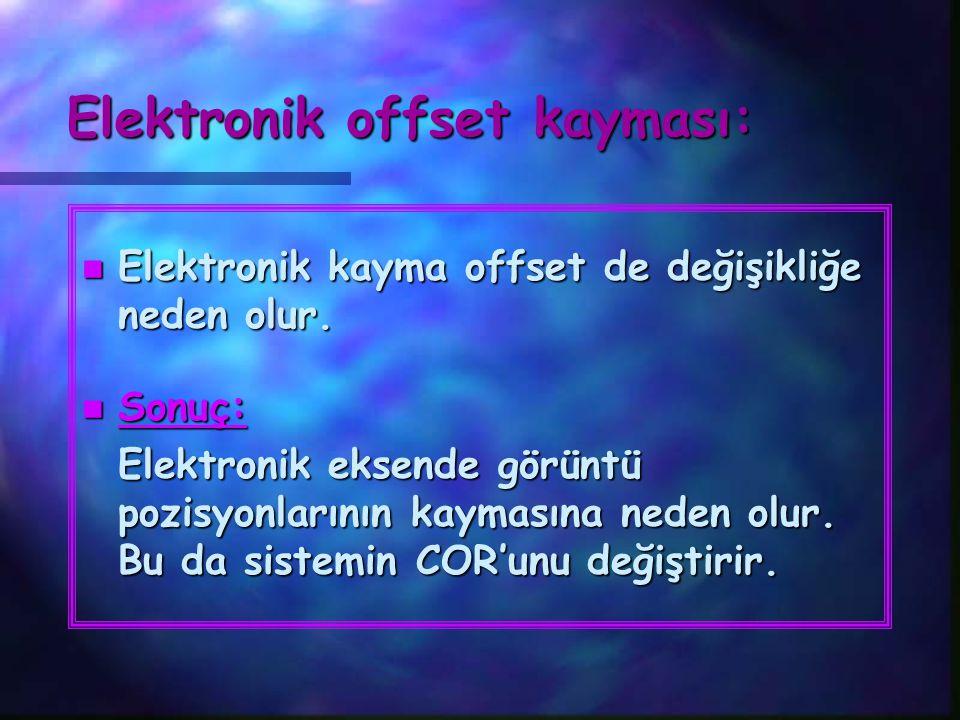 Elektronik offset kayması: n Elektronik kayma offset de değişikliğe neden olur. n Sonuç: Elektronik eksende görüntü pozisyonlarının kaymasına neden ol