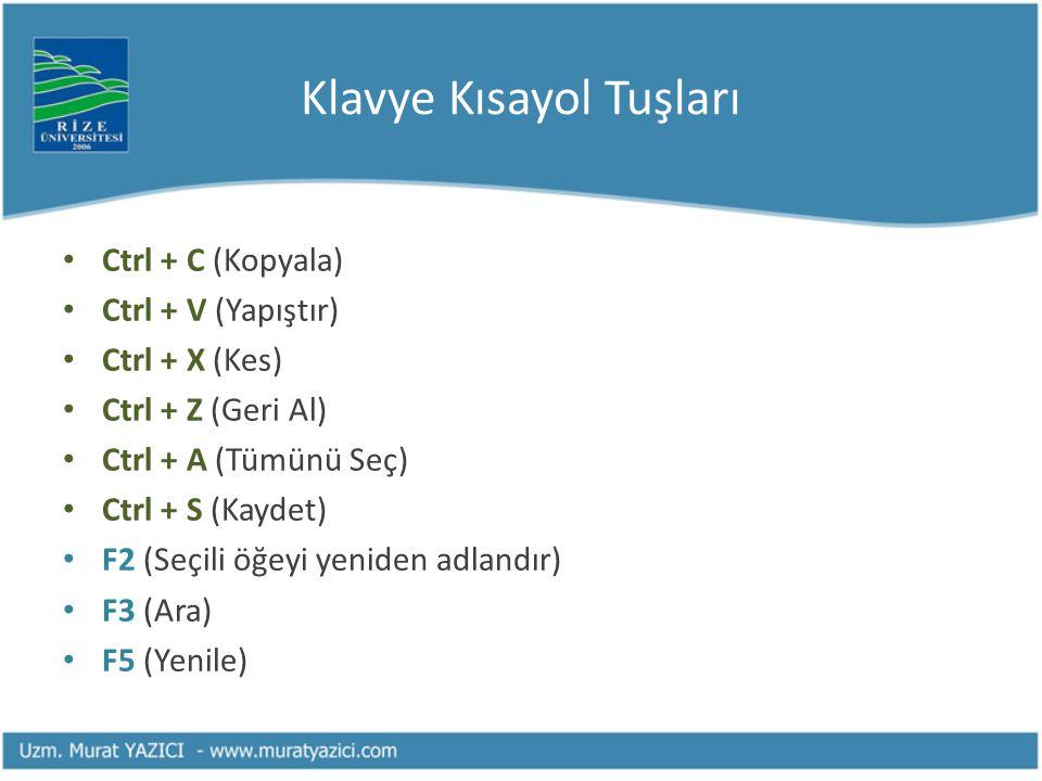 Klavye Kısayol Tuşları • Ctrl + C (Kopyala) • Ctrl + V (Yapıştır) • Ctrl + X (Kes) • Ctrl + Z (Geri Al) • Ctrl + A (Tümünü Seç) • Ctrl + S (Kaydet) •