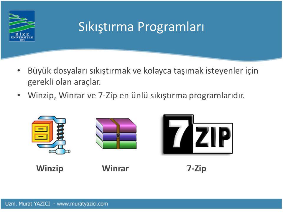 Sıkıştırma Programları • Büyük dosyaları sıkıştırmak ve kolayca taşımak isteyenler için gerekli olan araçlar. • Winzip, Winrar ve 7-Zip en ünlü sıkışt