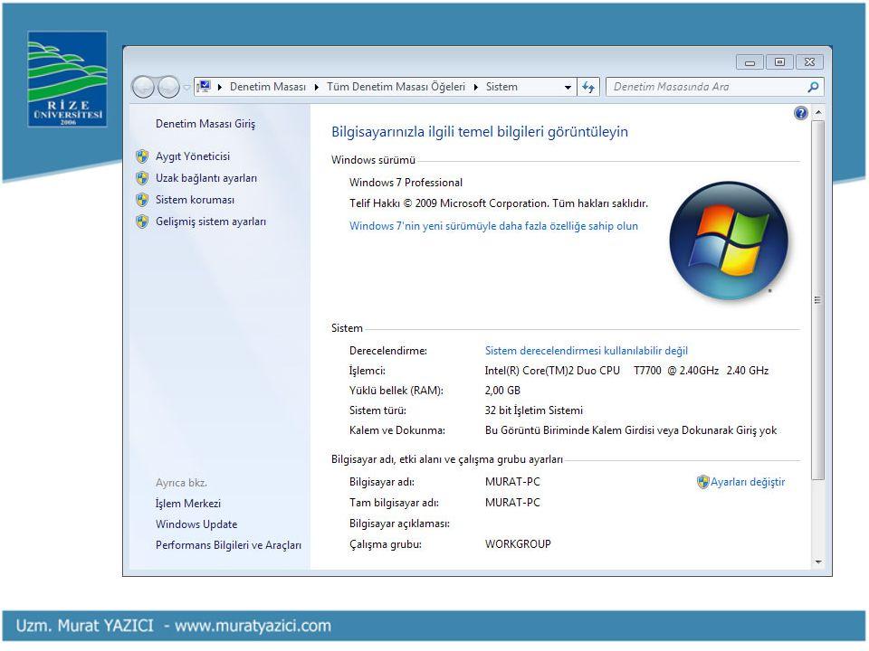 • Bilgisayarınızın diskiyle ilgili bilgileri görüntülemek için (dosya sistemi, dolu-boş alan miktarı, vb.) sabit diskinize (C, D) sağ tıklayarak Özellikler'i seçin.