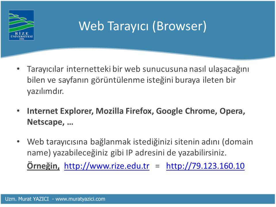 Web Tarayıcı (Browser) • Tarayıcılar internetteki bir web sunucusuna nasıl ulaşacağını bilen ve sayfanın görüntülenme isteğini buraya ileten bir yazıl