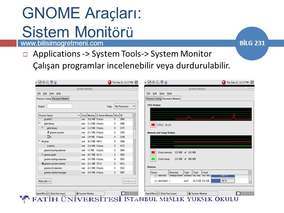 www.bilisimogretmeni.com BİLG 231 GNOME Ara ç ları: Sistem Monit ö r ü  Applications -> System Tools-> System Monitor Çalışan programlar incelenebili