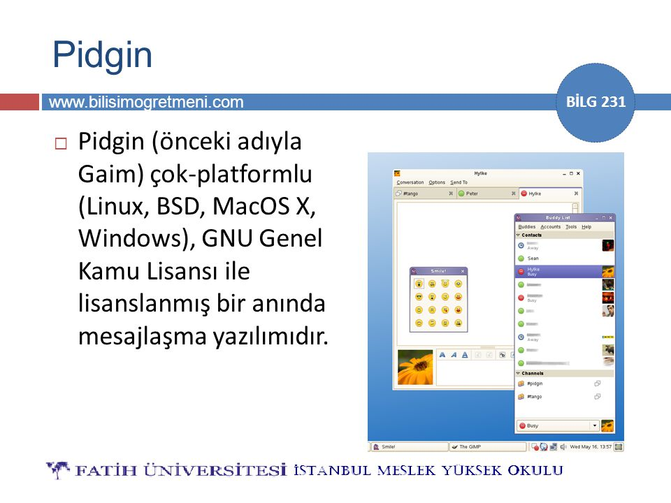www.bilisimogretmeni.com BİLG 231 Pidgin  Pidgin (önceki adıyla Gaim) çok-platformlu (Linux, BSD, MacOS X, Windows), GNU Genel Kamu Lisansı ile lisan