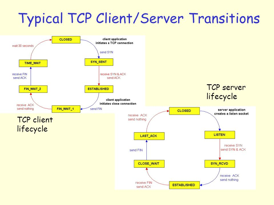 Typical TCP Client/Server Transitions TCP client lifecycle TCP server lifecycle