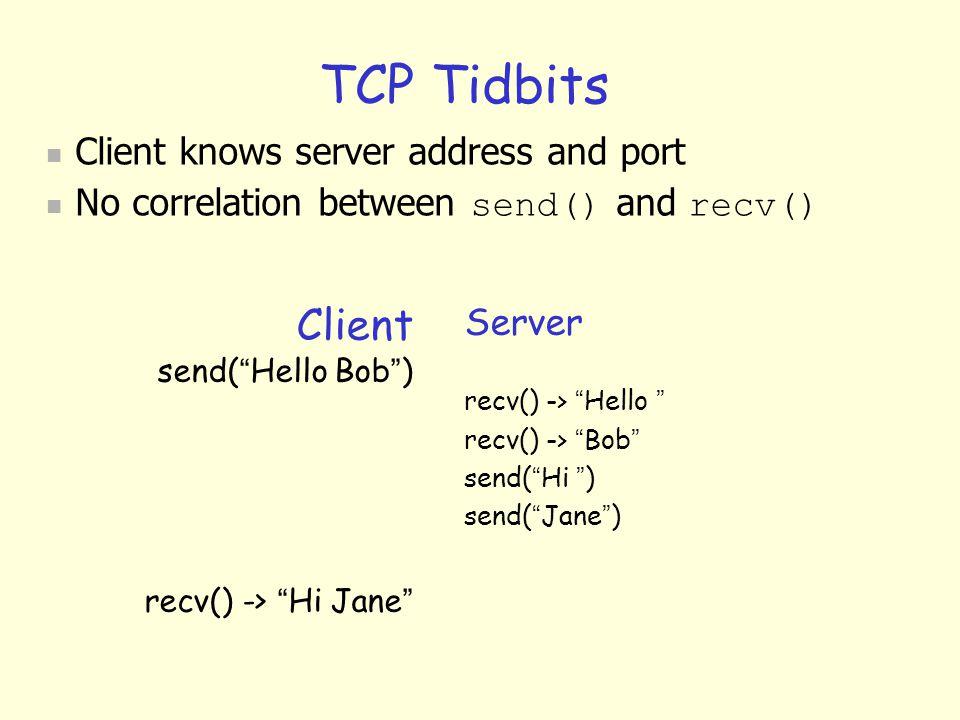 "TCP Tidbits Client send( "" Hello Bob "" ) recv() -> "" Hi Jane "" Server recv() -> "" Hello "" recv() -> "" Bob "" send( "" Hi "" ) send( "" Jane "" )  Client k"