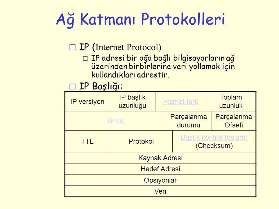 Ağ Katmanı Protokolleri  IP ( Internet Protocol) m IP adresi bir ağa bağlı bilgisayarların ağ üzerinden birbirlerine veri yollamak için kullandıkları