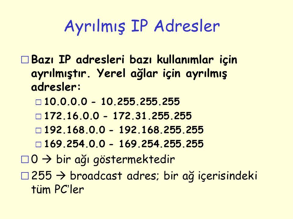 Ayrılmış IP Adresler r Bazı IP adresleri bazı kullanımlar için ayrılmıştır. Yerel ağlar için ayrılmış adresler: m 10.0.0.0 - 10.255.255.255 m 172.16.0