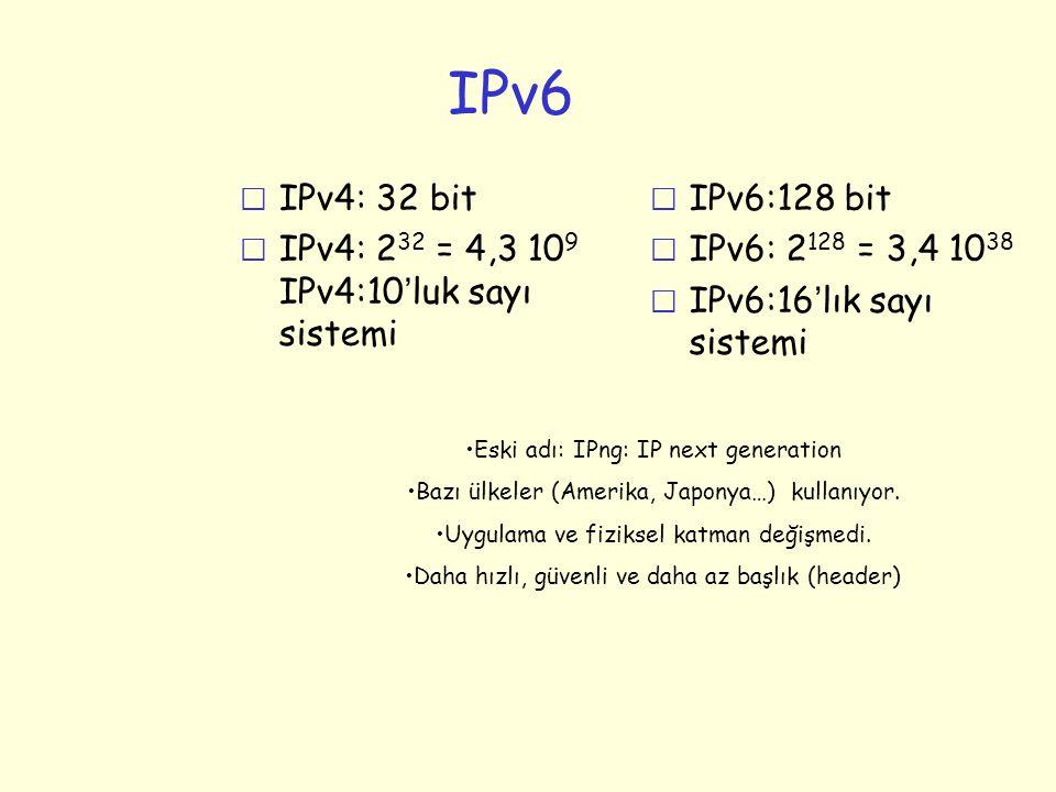 IPv6 r IPv4: 32 bit  IPv4: 2 32 = 4,3 10 9 IPv4:10 ' luk sayı sistemi r IPv6:128 bit r IPv6: 2 128 = 3,4 10 38  IPv6:16 ' lık sayı sistemi •Eski adı