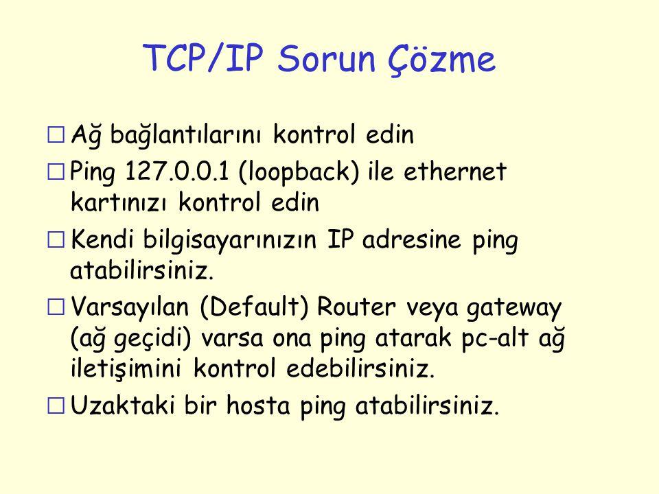 TCP/IP Sorun Çözme r Ağ bağlantılarını kontrol edin r Ping 127.0.0.1 (loopback) ile ethernet kartınızı kontrol edin r Kendi bilgisayarınızın IP adresi