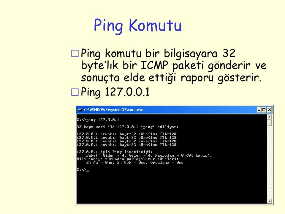 Ping Komutu  Ping komutu bir bilgisayara 32 byte ' lık bir ICMP paketi gönderir ve sonuçta elde ettiği raporu gösterir. r Ping 127.0.0.1