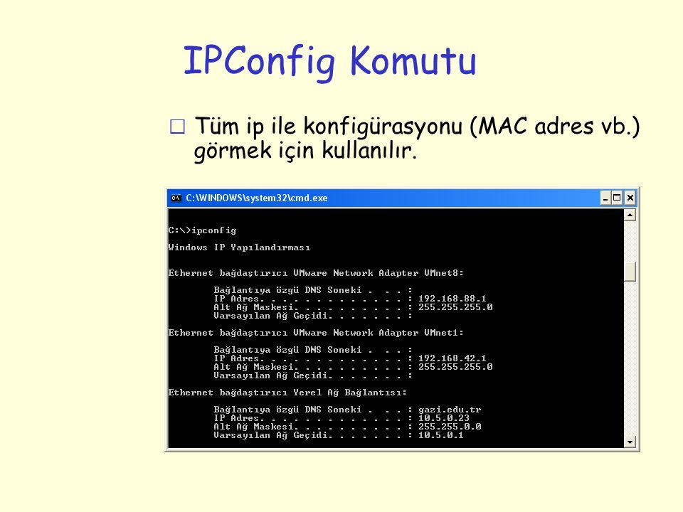 IPConfig Komutu r Tüm ip ile konfigürasyonu (MAC adres vb.) görmek için kullanılır.