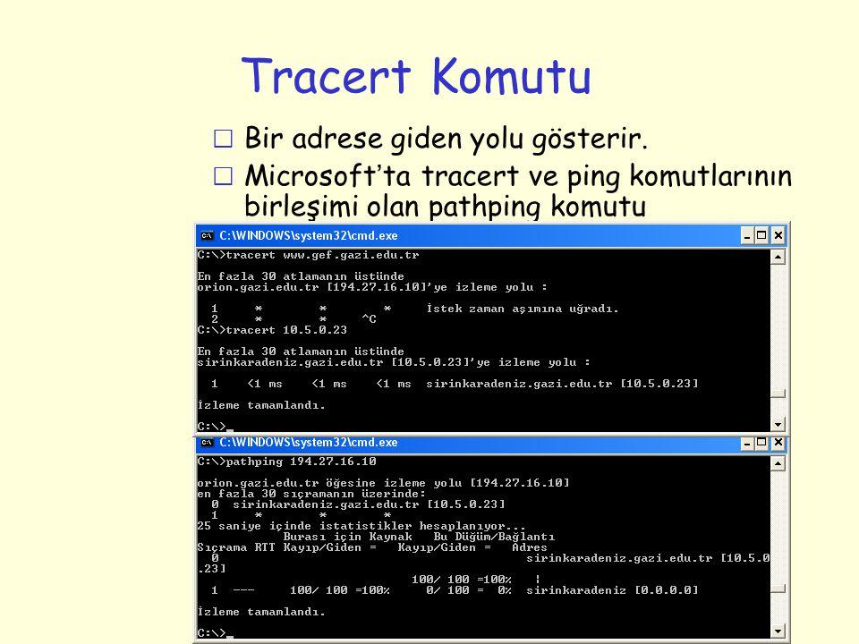 Tracert Komutu r Bir adrese giden yolu gösterir.  Microsoft ' ta tracert ve ping komutlarının birleşimi olan pathping komutu kullanılabilir.