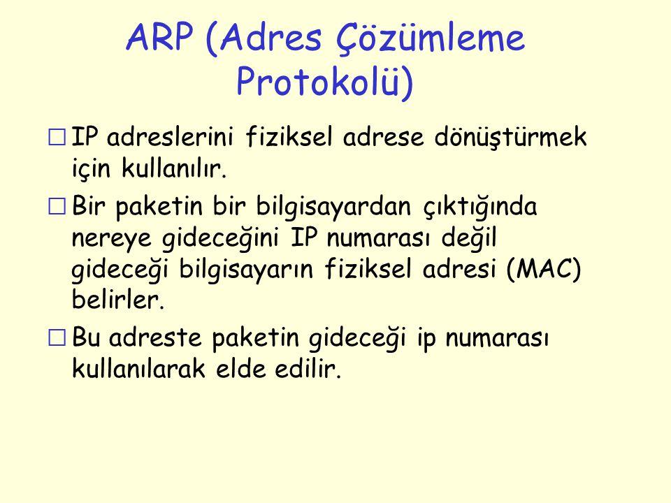 ARP (Adres Çözümleme Protokolü) r IP adreslerini fiziksel adrese dönüştürmek için kullanılır. r Bir paketin bir bilgisayardan çıktığında nereye gidece