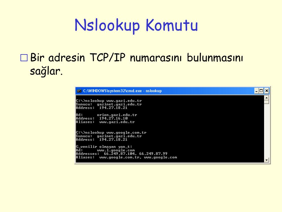 Nslookup Komutu r Bir adresin TCP/IP numarasını bulunmasını sağlar.