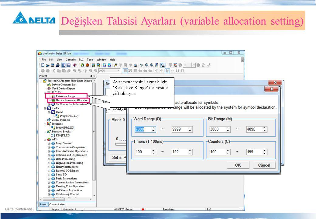 Kalıcı Hafıza Bölgesi Değişken Tahsisi Ayarları (variable allocation setting) Ayar penceresini açmak için