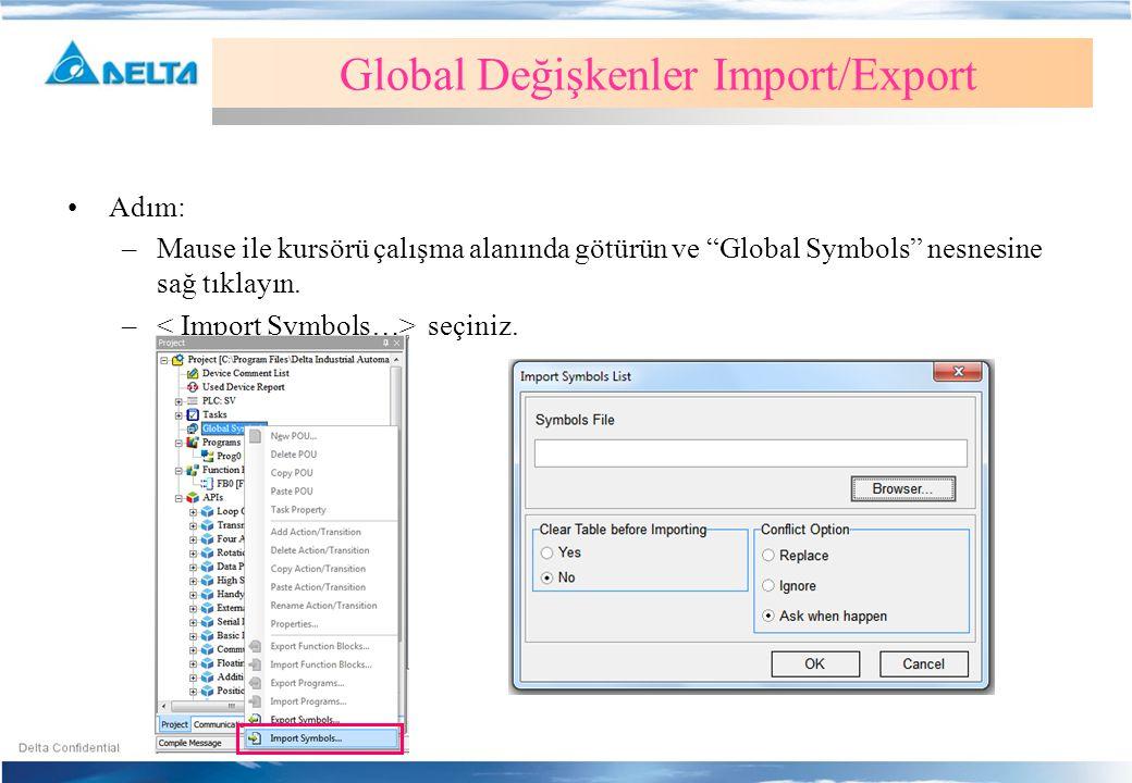 """Global Değişkenler Import/Export •Adım: –Mause ile kursörü çalışma alanında götürün ve """"Global Symbols"""" nesnesine sağ tıklayın. – seçiniz."""