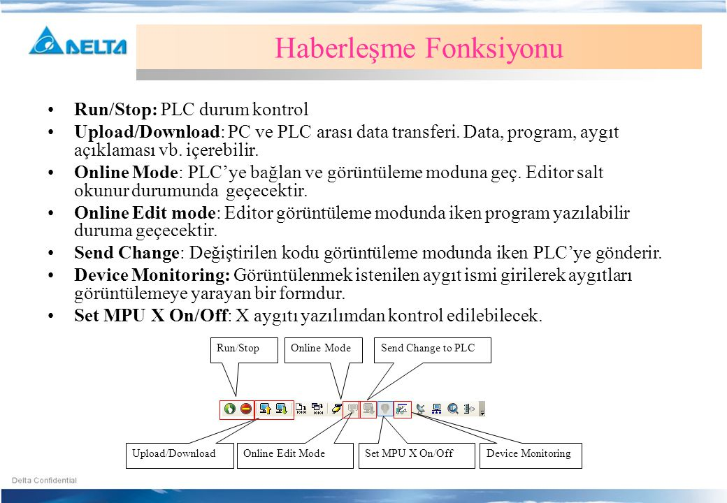 Run/Stop Upload/Download Online Mode Online Edit Mode Send Change to PLC Device Monitoring Haberleşme Fonksiyonu •Run/Stop: PLC durum kontrol •Upload/