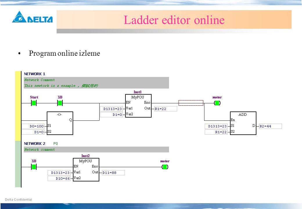 •Program online izleme Ladder editor online