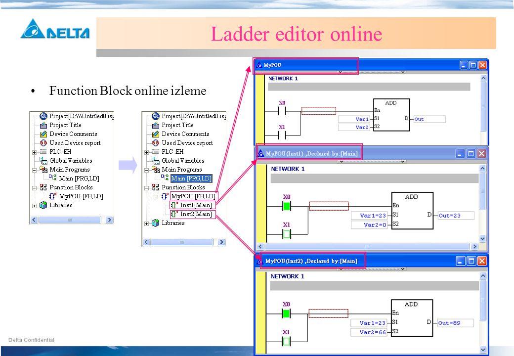 •Function Block online izleme Ladder editor online