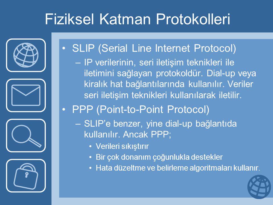 Fiziksel Katman Protokolleri •SLIP (Serial Line Internet Protocol) –IP verilerinin, seri iletişim teknikleri ile iletimini sağlayan protokoldür.