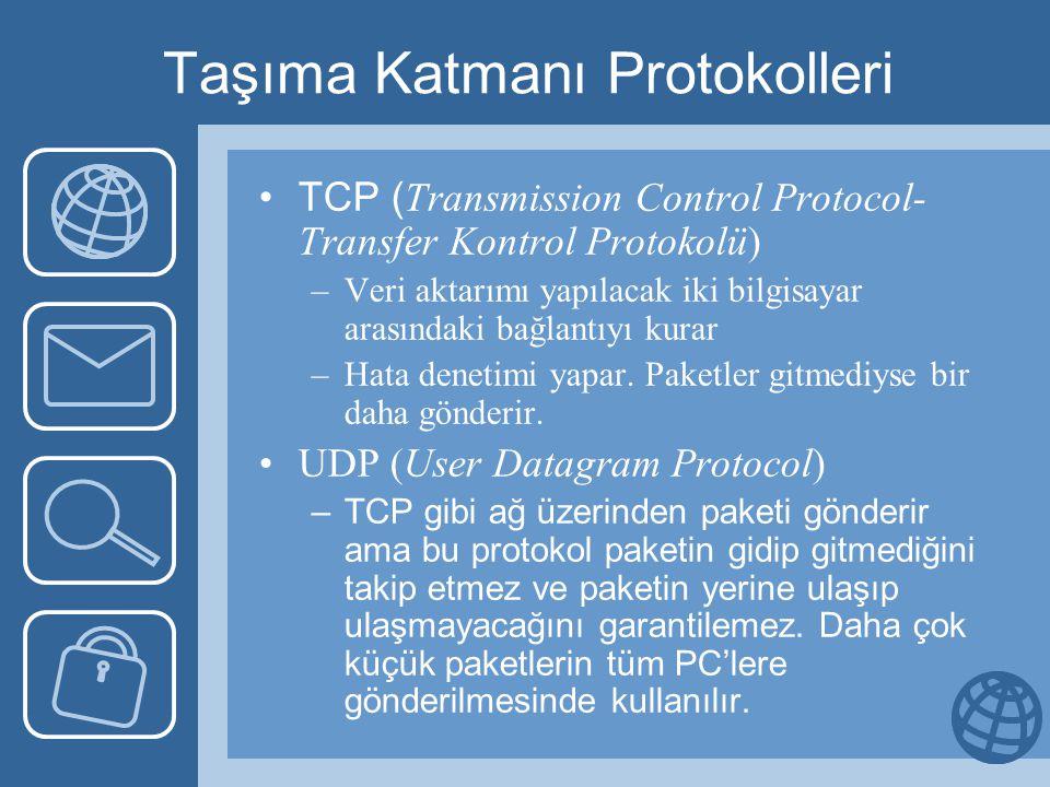 Taşıma Katmanı Protokolleri •TCP ( Transmission Control Protocol- Transfer Kontrol Protokolü) –Veri aktarımı yapılacak iki bilgisayar arasındaki bağlantıyı kurar –Hata denetimi yapar.