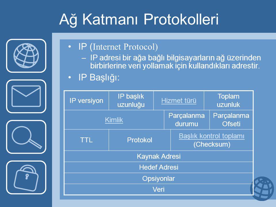 Ağ Katmanı Protokolleri •IP ( Internet Protocol) –IP adresi bir ağa bağlı bilgisayarların ağ üzerinden birbirlerine veri yollamak için kullandıkları adrestir.