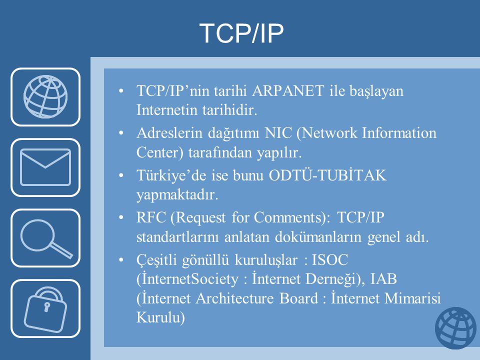 TCP/IP •TCP/IP'nin tarihi ARPANET ile başlayan Internetin tarihidir.