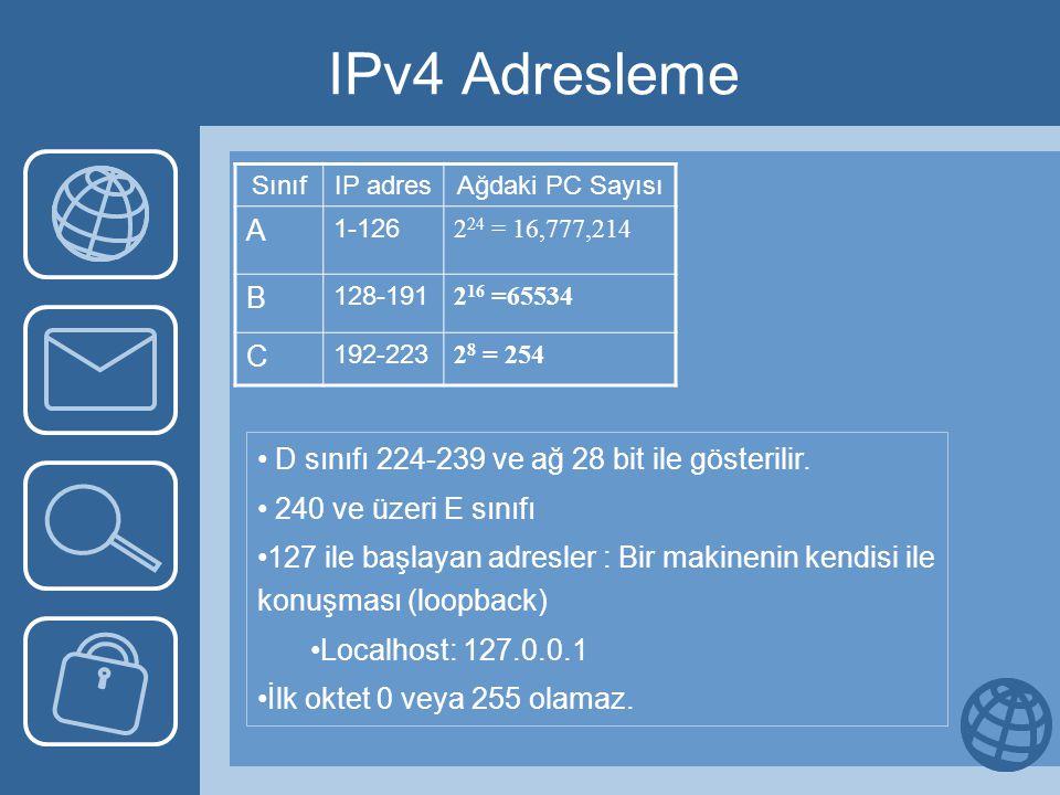 IPv4 Adresleme SınıfIP adresAğdaki PC Sayısı A 1-126 2 24 = 16,777,214 B 128-191 2 16 =65534 C 192-223 2 8 = 254 • D sınıfı 224-239 ve ağ 28 bit ile gösterilir.