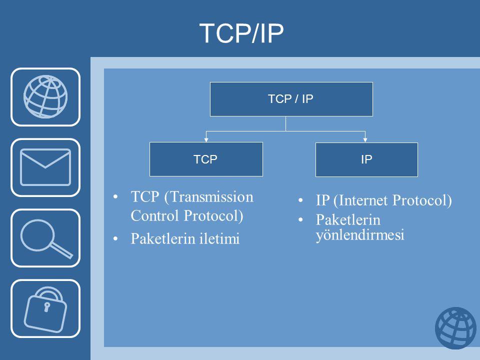 TCP/IP Başlık •Kaynak ve hedef portu: Gönderici ve alıcı pc'lerin port numarasıport •Sıra numarası:Paketin hangi bölümü olduğunu gösterir •Alındı bilgisi numarası: Bir sonraki gelecek olan paket bölüm numarası •Pencere: Alıcının daha ne kadar paket bölümü alacağını belirler.