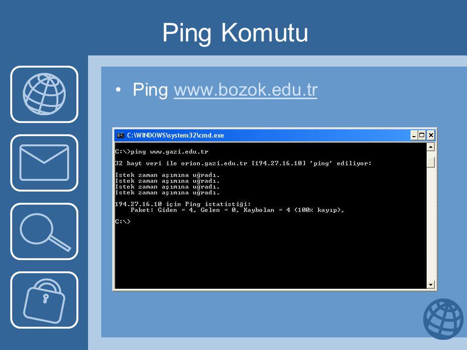 Ping Komutu •Ping www.bozok.edu.trwww.bozok.edu.tr