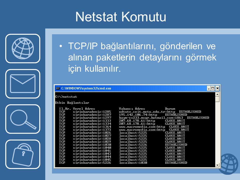 Netstat Komutu •TCP/IP bağlantılarını, gönderilen ve alınan paketlerin detaylarını görmek için kullanılır.