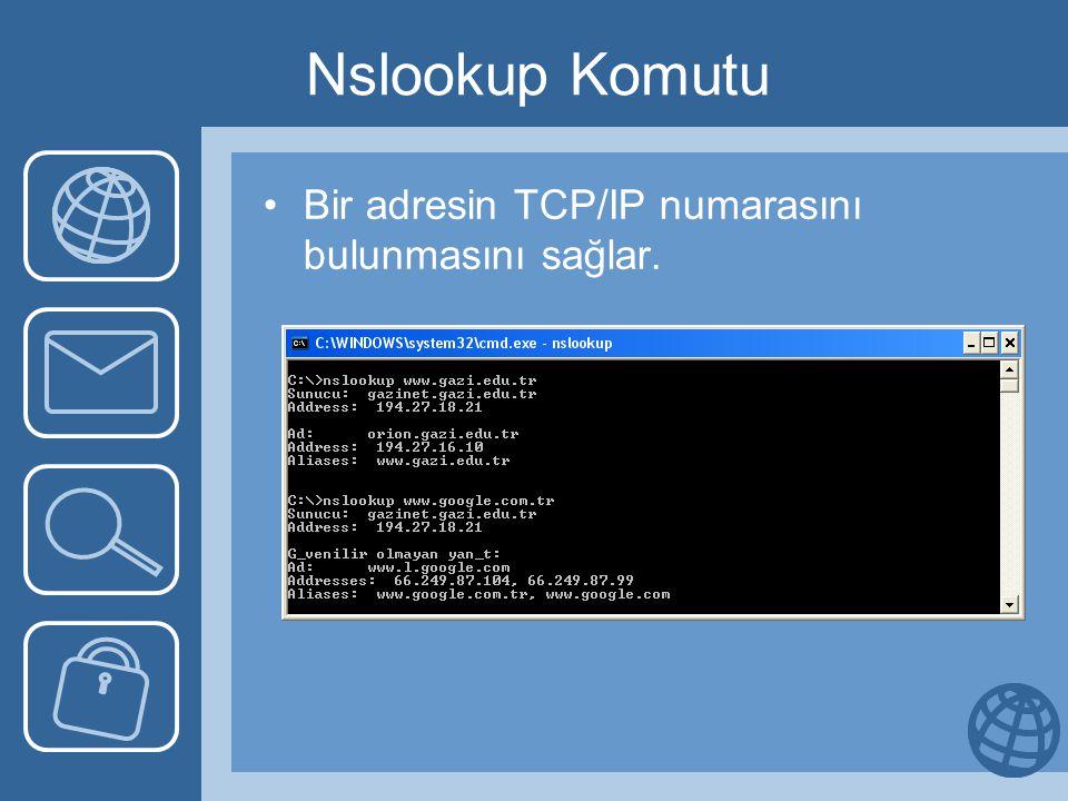 Nslookup Komutu •Bir adresin TCP/IP numarasını bulunmasını sağlar.