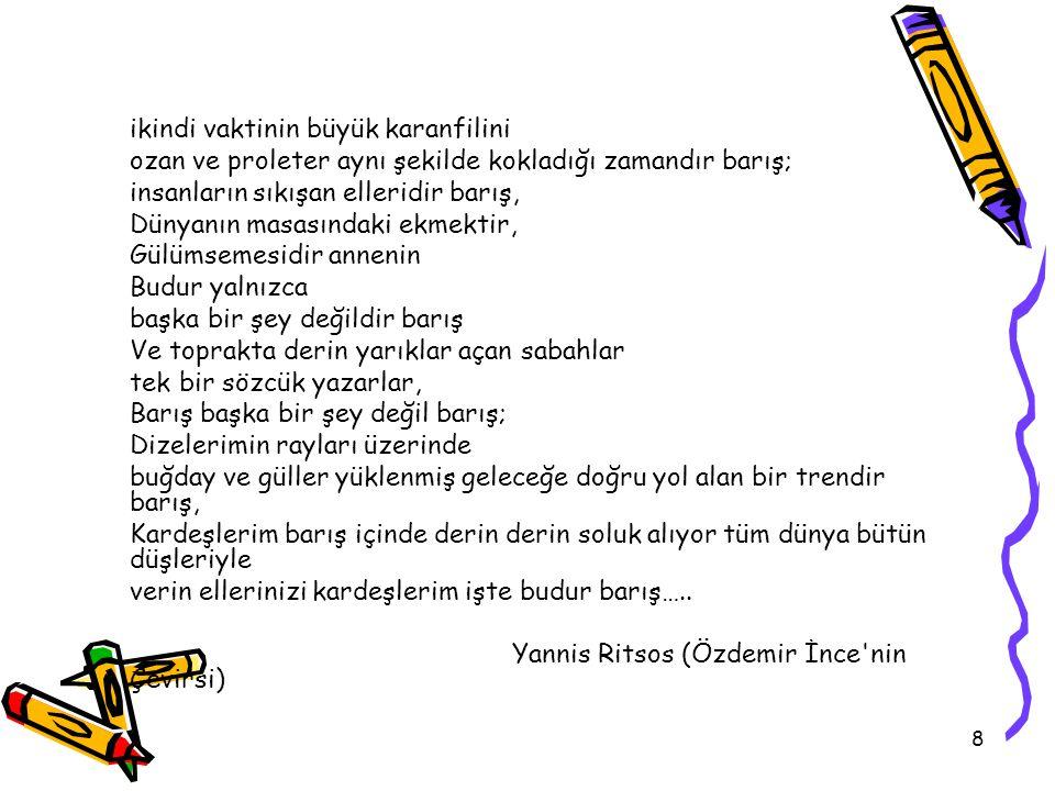 29 Tanım •Türk Dil Kurumu 'barış'ı, uyum, karşılıklı anlayış ve hoşgörü ile oluşturulan ortam, seklinde tanımlamaktadır (TDK, 2006).