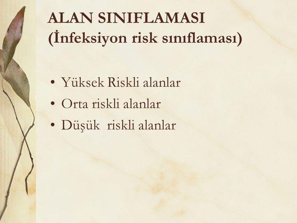ALAN SINIFLAMASI (İnfeksiyon risk sınıflaması) •Yüksek Riskli alanlar •Orta riskli alanlar •Düşük riskli alanlar