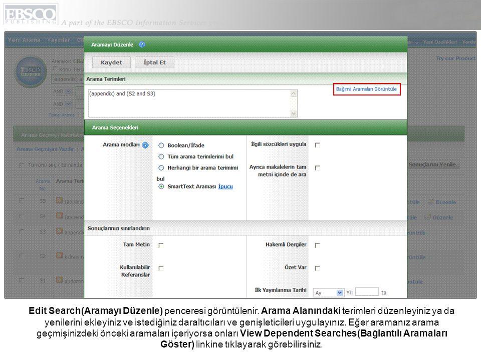 Edit Search(Aramayı Düzenle) penceresi görüntülenir.