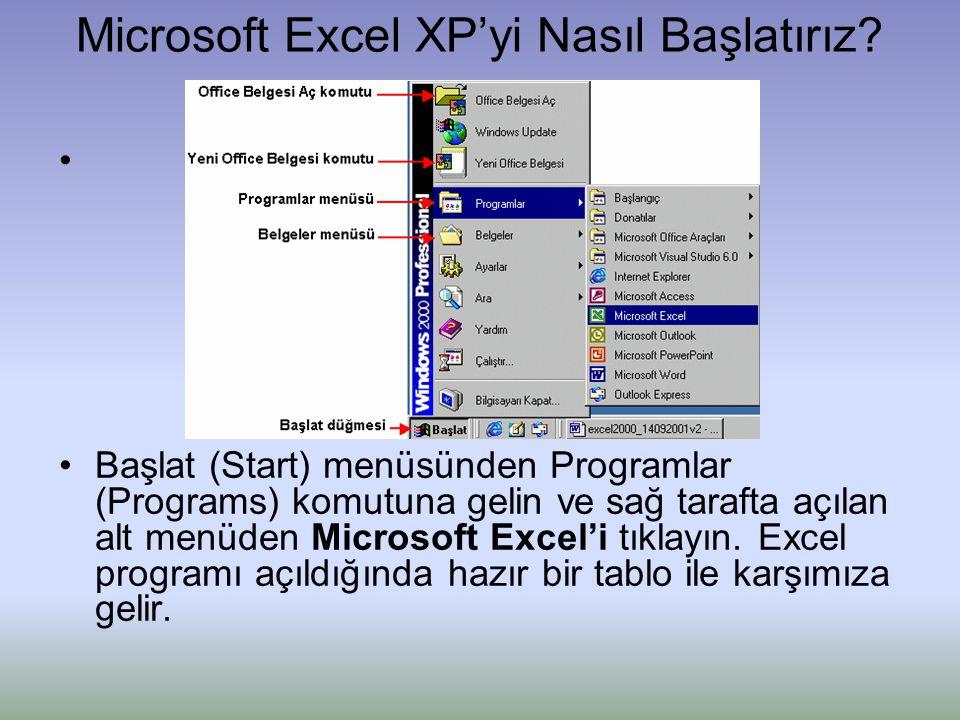 Microsoft Excel XP'yi Nasıl Başlatırız? • •Başlat (Start) menüsünden Programlar (Programs) komutuna gelin ve sağ tarafta açılan alt menüden Microsoft