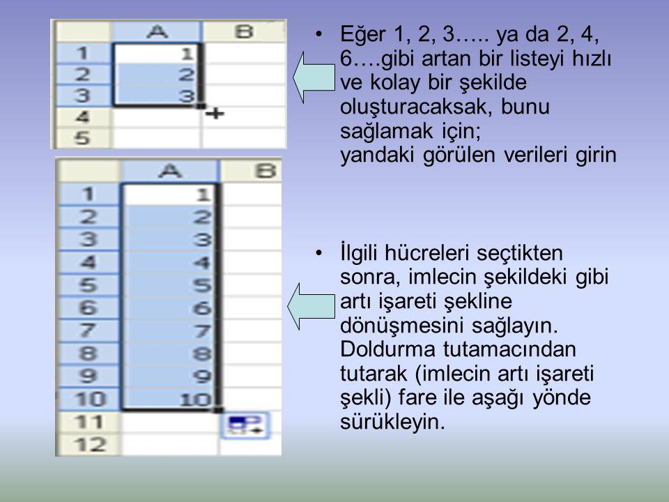 •Eğer 1, 2, 3….. ya da 2, 4, 6….gibi artan bir listeyi hızlı ve kolay bir şekilde oluşturacaksak, bunu sağlamak için; yandaki görülen verileri girin •