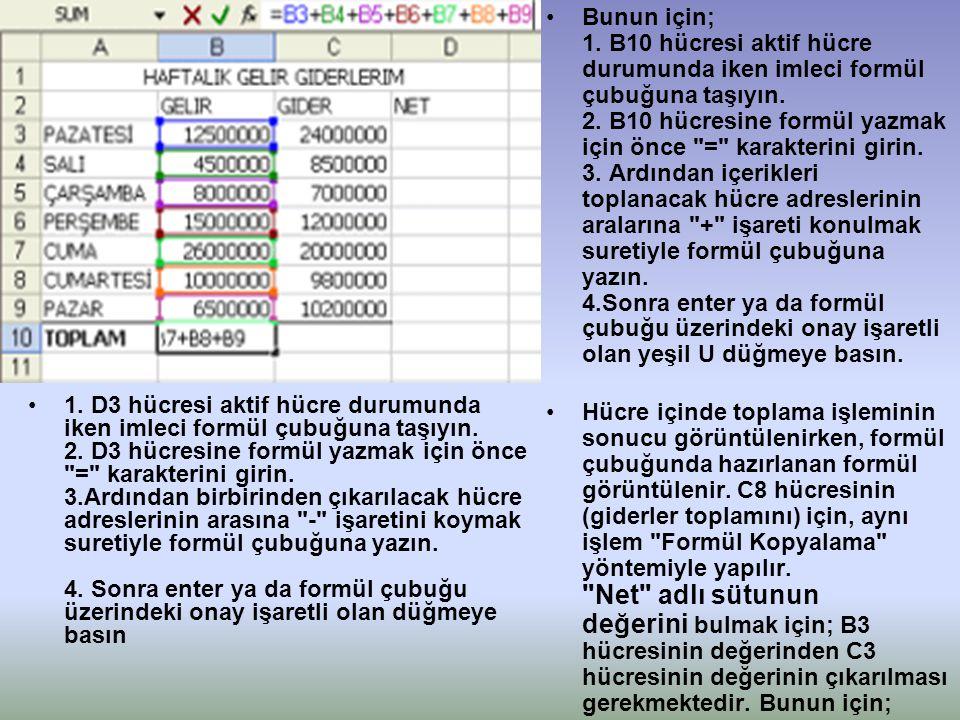 •1. D3 hücresi aktif hücre durumunda iken imleci formül çubuğuna taşıyın. 2. D3 hücresine formül yazmak için önce
