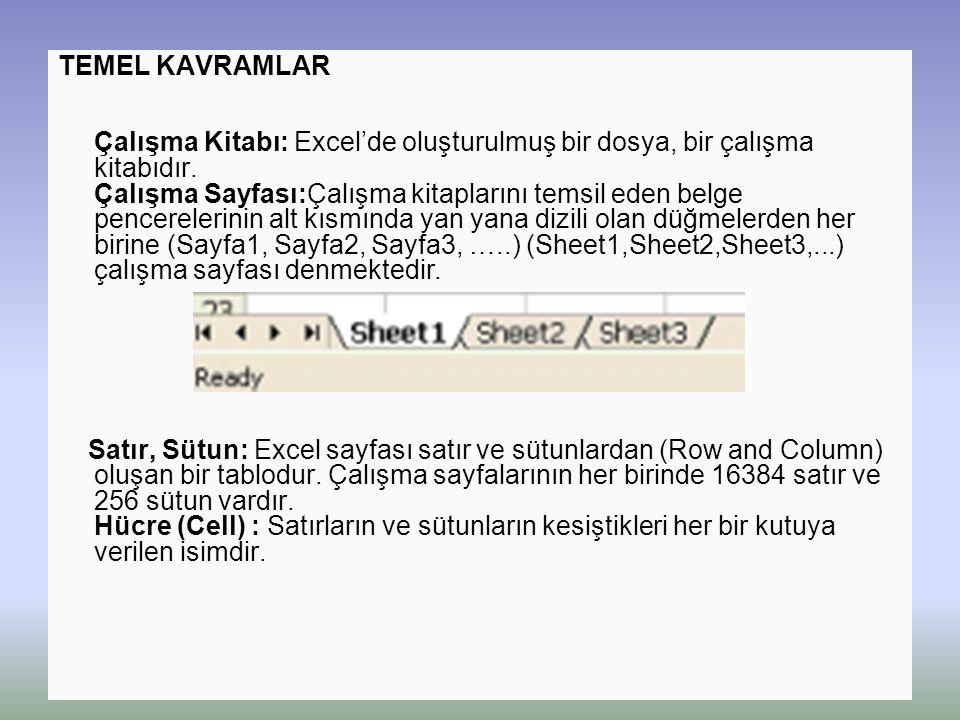TEMEL KAVRAMLAR Çalışma Kitabı: Excel'de oluşturulmuş bir dosya, bir çalışma kitabıdır. Çalışma Sayfası:Çalışma kitaplarını temsil eden belge pencerel