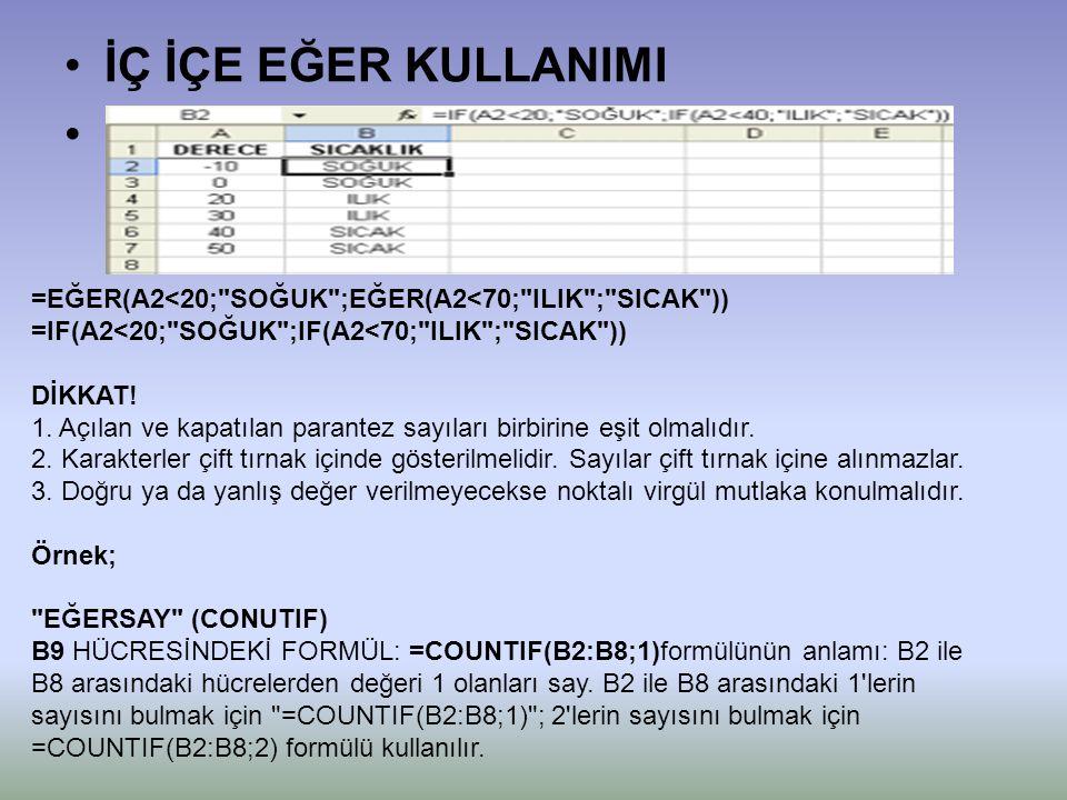 •İÇ İÇE EĞER KULLANIMI =EĞER(A2<20; SOĞUK ;EĞER(A2<70; ILIK ; SICAK )) =IF(A2<20; SOĞUK ;IF(A2<70; ILIK ; SICAK )) DİKKAT.