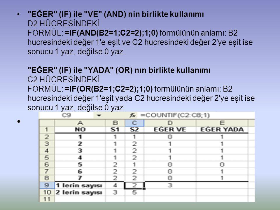 • EĞER (IF) ile VE (AND) nin birlikte kullanımı D2 HÜCRESİNDEKİ FORMÜL: =IF(AND(B2=1;C2=2);1;0) formülünün anlamı: B2 hücresindeki değer 1 e eşit ve C2 hücresindeki değer 2 ye eşit ise sonucu 1 yaz, değilse 0 yaz.