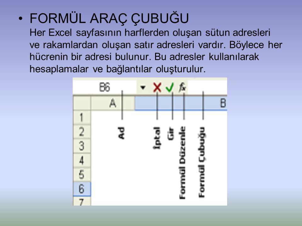 •FORMÜL ARAÇ ÇUBUĞU Her Excel sayfasının harflerden oluşan sütun adresleri ve rakamlardan oluşan satır adresleri vardır. Böylece her hücrenin bir adre