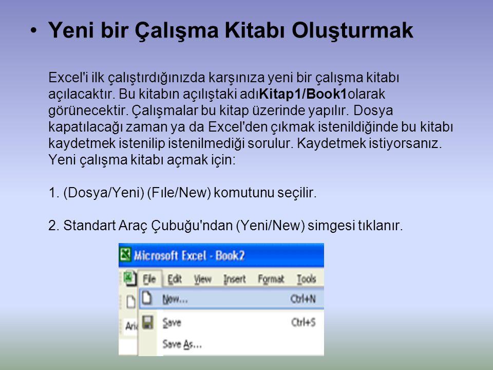 •Yeni bir Çalışma Kitabı Oluşturmak Excel i ilk çalıştırdığınızda karşınıza yeni bir çalışma kitabı açılacaktır.