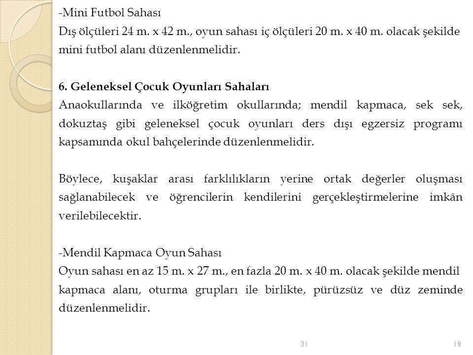 -Mini Futbol Sahası Dış ölçüleri 24 m.x 42 m., oyun sahası iç ölçüleri 20 m.