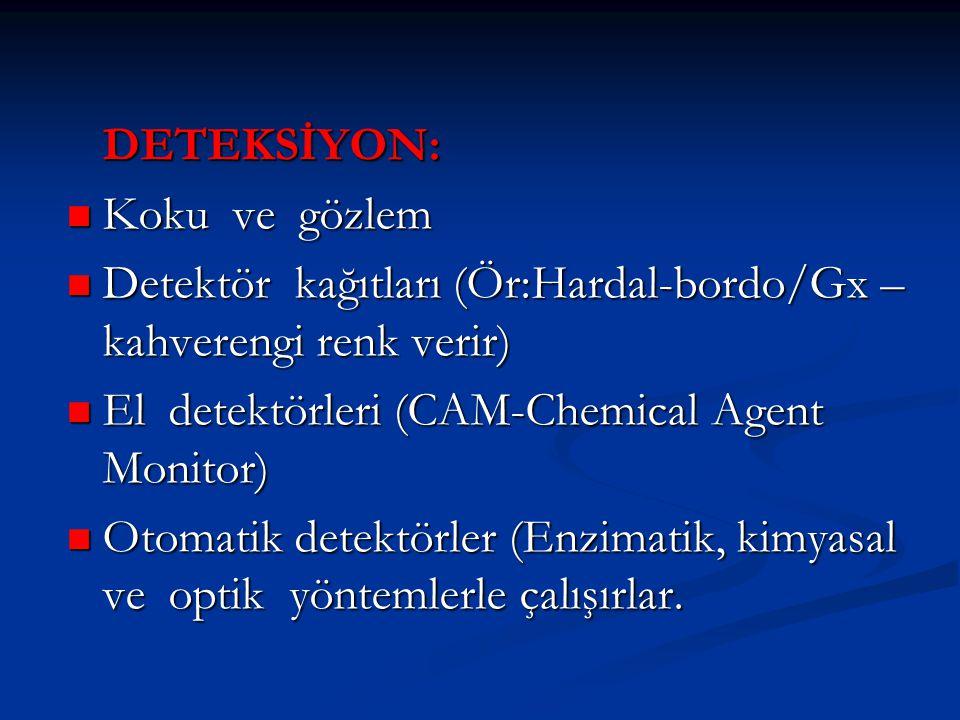 DETEKSİYON:  Koku ve gözlem  Detektör kağıtları (Ör:Hardal-bordo/Gx – kahverengi renk verir)  El detektörleri (CAM-Chemical Agent Monitor)  Otomat