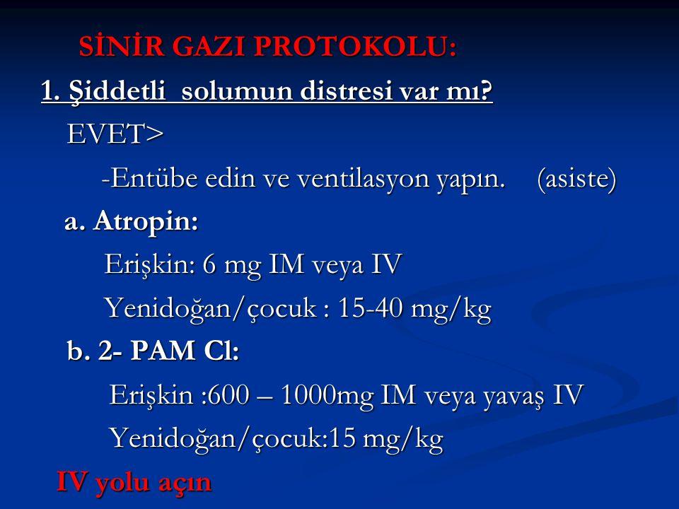 SİNİR GAZI PROTOKOLU: SİNİR GAZI PROTOKOLU: 1. Şiddetli solumun distresi var mı? EVET> -Entübe edin ve ventilasyon yapın. (asiste) -Entübe edin ve ven