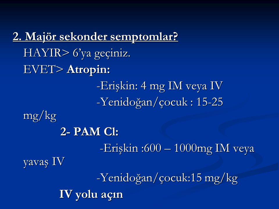 2. Majör sekonder semptomlar? HAYIR> 6'ya geçiniz. EVET> Atropin: -Erişkin: 4 mg IM veya IV -Erişkin: 4 mg IM veya IV -Yenidoğan/çocuk : 15-25 mg/kg -