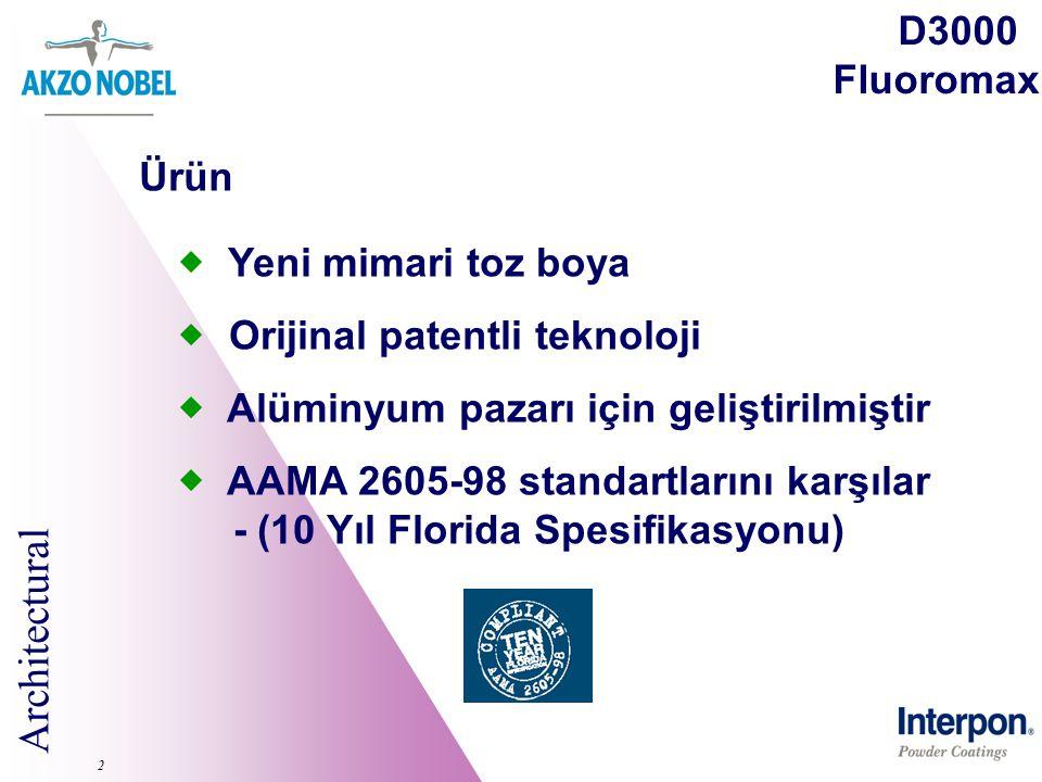 Architectural 2 D3000 Fluoromax  Yeni mimari toz boya  Orijinal patentli teknoloji  Alüminyum pazarı için geliştirilmiştir  AAMA 2605-98 standartl