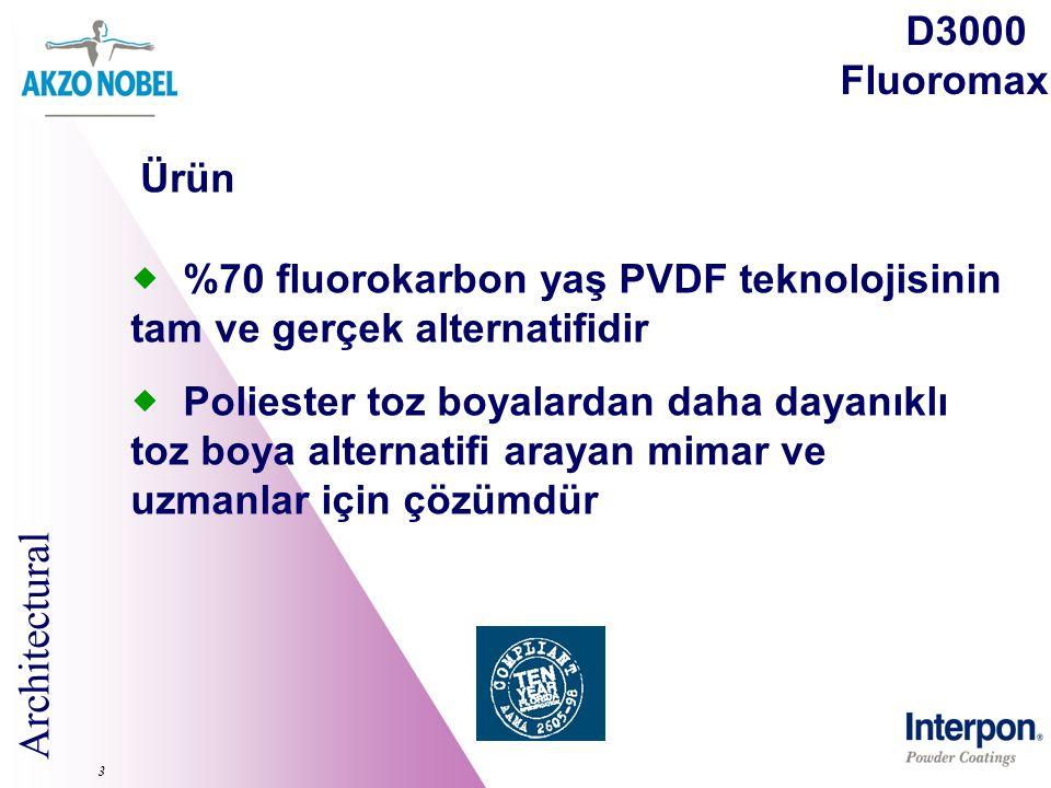 Architectural 3  %70 fluorokarbon yaş PVDF teknolojisinin tam ve gerçek alternatifidir  Poliester toz boyalardan daha dayanıklı toz boya alternatifi