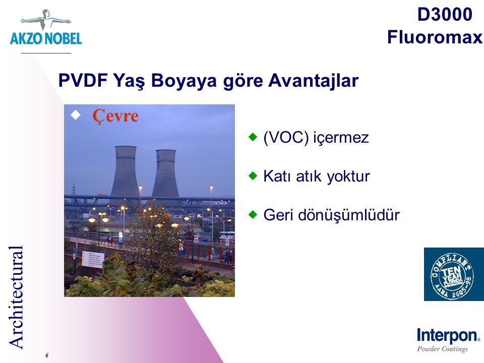 Architectural 6  Çevre  (VOC) içermez  Katı atık yoktur  Geri dönüşümlüdür D3000 Fluoromax PVDF Yaş Boyaya göre Avantajlar
